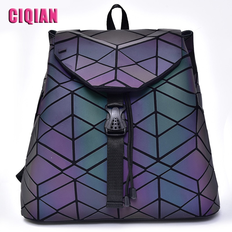 NEW Luminous Bag Backpack Women Geometry Backpack Large Capacity Student's School Bag for girls qualited Hologram Free Shipping