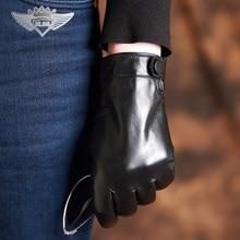 2016 Autumn and Winter Fashion New Men's Genuine Leather Gloves Goatskin Button Black Plus Velvet Warm Gloves J61 стоимость