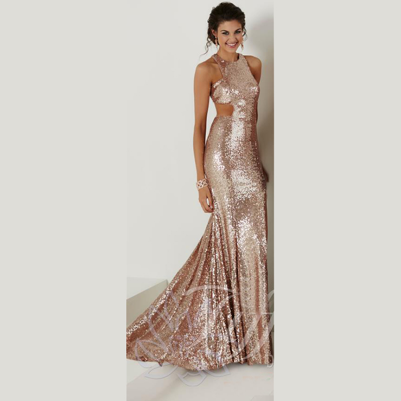 Sequined Fabric Y Thigh High Rose Gold Black Halter Neckline 2016 Prom Dresses Satin Mermaid Evening Gowns In From Weddings Events