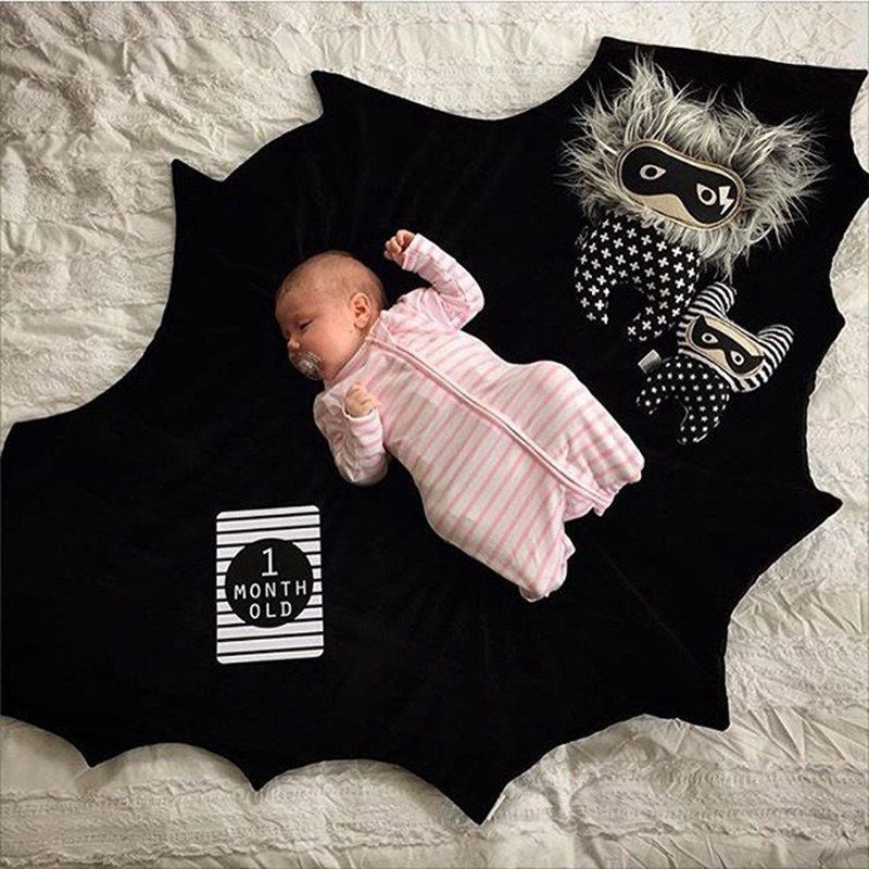 Baby Blanket Cotton Batman Plat Mat Black Bat Game Stroller Bedding Blanket Infant Bebe Carpet Crawling Newborn Swaddling Padded