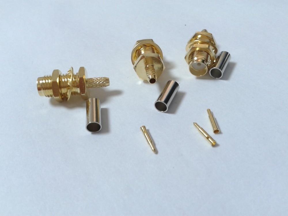bilder für 100 stücke vergoldet RP SMA Female Quetschverbinder für Koaxialkabel RG316 RG174 kabel