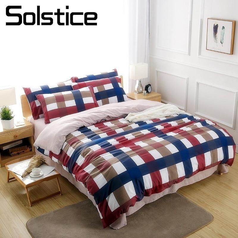 Solstice maison Textile treillis Plaid housse de couette taie d'oreiller drap rouge bleu ensemble de literie femme adulte adolescent linge de lit King Queen Twin
