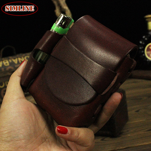 High Quality Vintage Casual 100% Genuine Leather Cowhide Leather Men Belt Small Waist Bag Pack Cigarette Case Bags Packs For Man