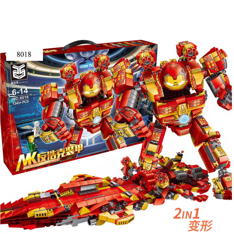 Marvel Avengers Infinit 2 in 1 Super Hero Anti-Hulk Armor Battleship Mech Robot Building Blocks set DIY Bricks Toys for Children