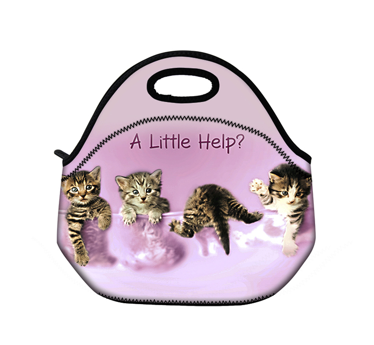 Little Cats Fashion Insulated Neoprene Lunch Tote Bag Picnic Bag Cool Bag Pouch Handbag Case with Zip & Handles
