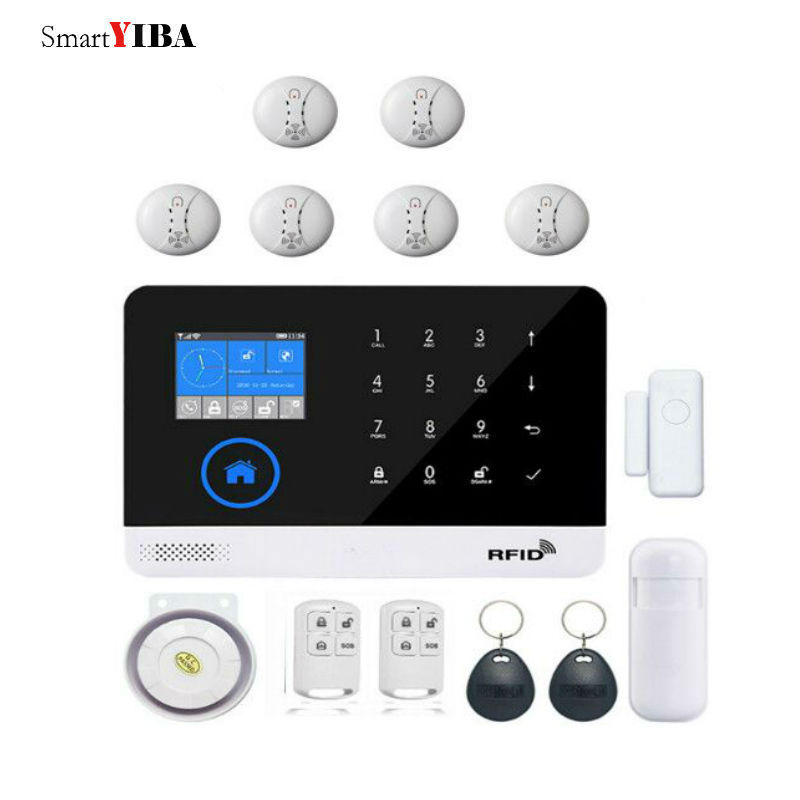 SmartYIBA WIFI GSM Alarm Security Wireless Smoke Fire Alarm Sets For Home Protection RFID SIM Voice Prompt Burglar Alarm System