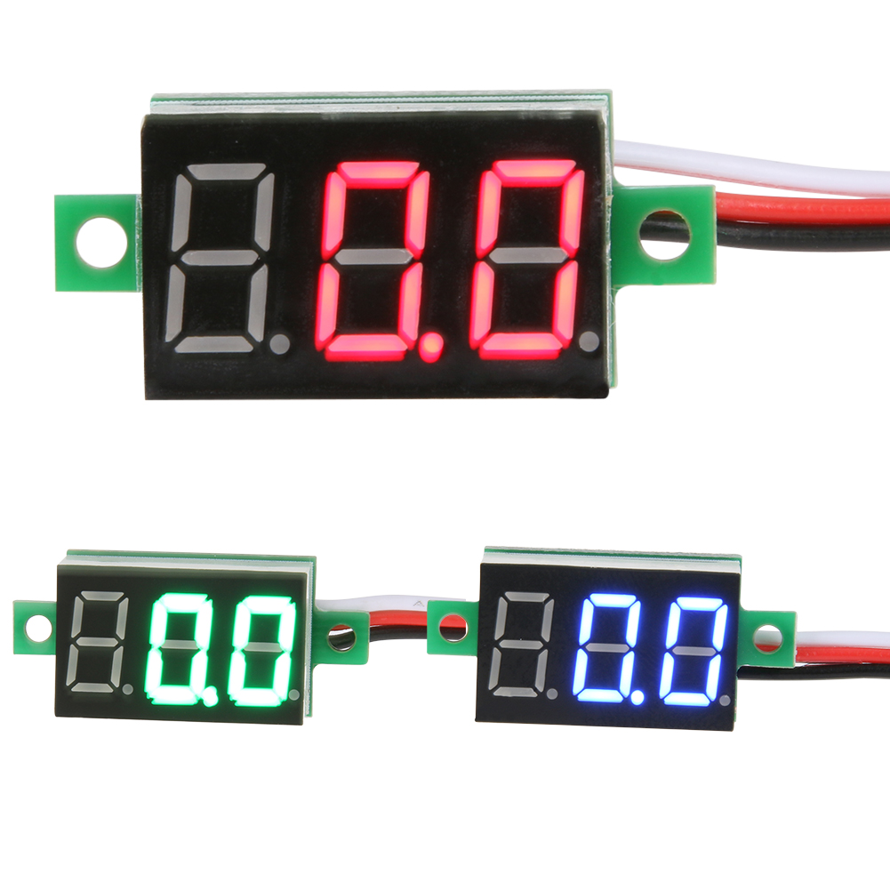 0.36'' DC0-100V LED Mini Digital Voltmeter Blue/red/green LED Display Volt Meter Gauge Voltage Panel Meter 3 Wires(15CM)Dropship 0 28 super mini digital red led display voltmeter dc 3 5 30v 2 wires vehicles motor voltage panel meter battery monitor