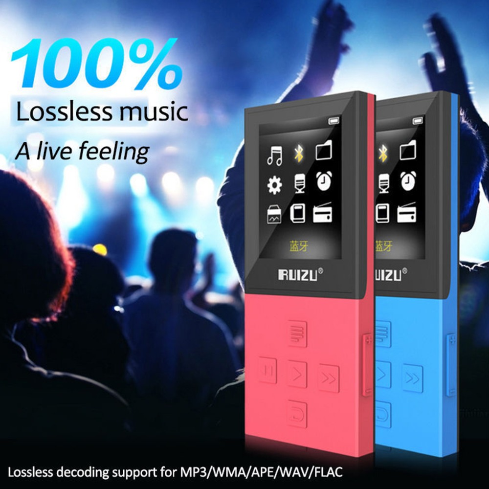 Lecteur mp3 RUIZU X18 lecteur de musique MP3 enregistreur Bluetooth FM WMA WAV APE FLAC AVI prise en charge carte MicroSD à 64 go écran couleur