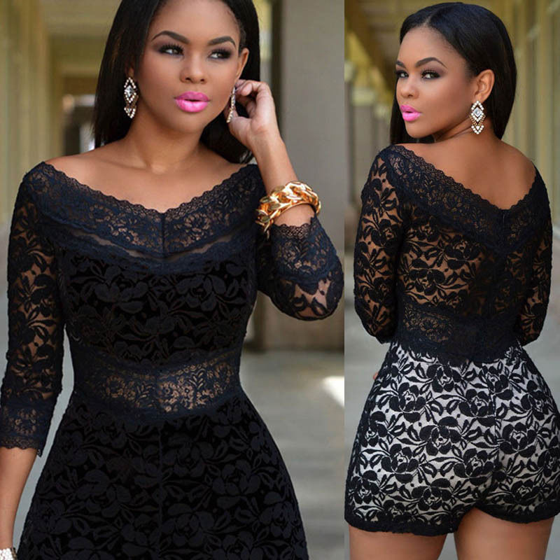 1e13eaf65686 Black Floral Lace Women Shorts Bodycon Jumpsuit Romper Bodysuit Club Party  WEAR on Aliexpress.com