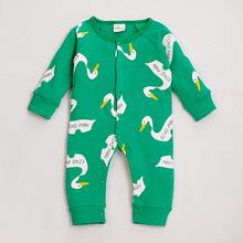 Childhood Shop Unisex Baby Boys&Girsl Swan Printed Cartoon Animal Cotton Raglan Sleeve Rompers Climbing Clothes Infant Jumpsuit