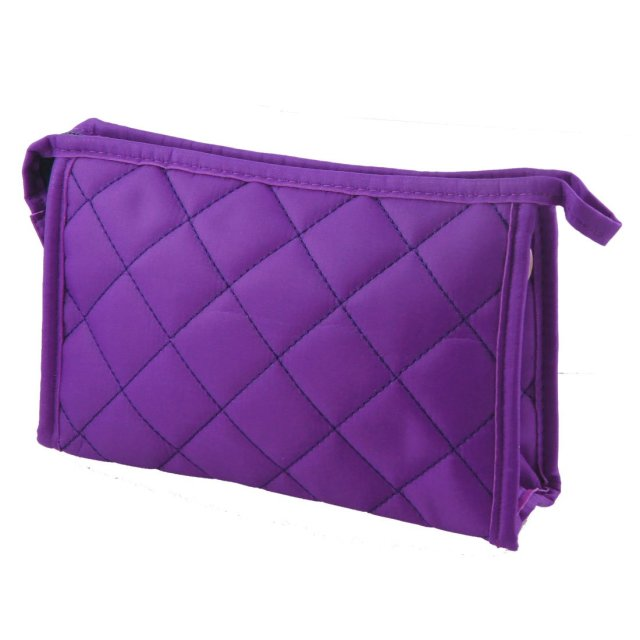 "Wholesale 5* Purple Womens 7.9"" Long Grid Pattern Rectangle Travel Case Makeup Zipper Bag"