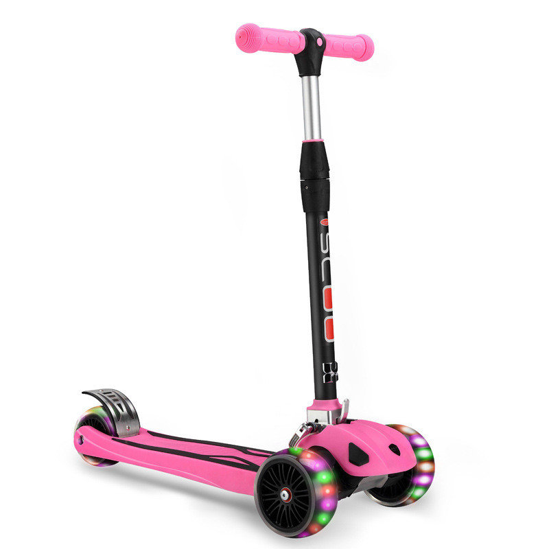 Foldable Kids Mini Kick Scooter 3 Wheels with Brake Adjustable Height easy ride kids 2 pedal scooter dual pedal scooter double pedal scooter with brake and musical light and safety helmet 7 safer