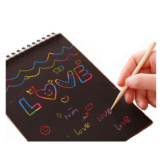 BOHS 20*14CM Kids Children Colorful Rainbow Paper Scratch
