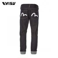 Evisu 2018 Summer Brand Jeans Men Hip Hop Denim Pants Men's Loose Straight Biker Jeans Male Solid Classic Trousers 6212