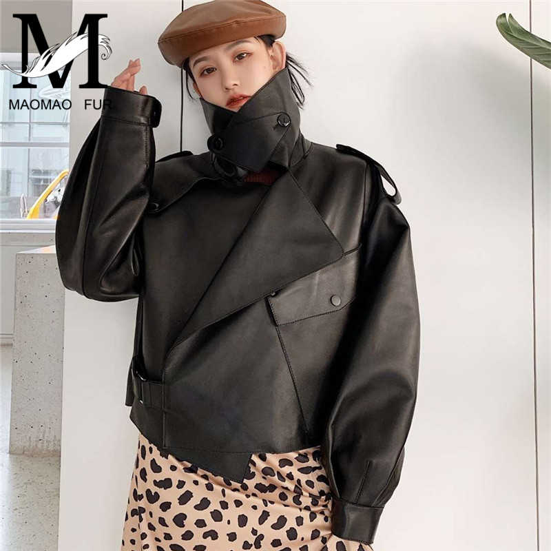 2019 جديد أزياء حقيقية سترة جلدية النساء جيوب بولي السائق الغنم معطف جلد الخريف الربيع السيدات الحقيقي سترة جلدية