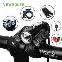 NEWBOLER Bicycle Light Adjust Angle Bike LED Front T6 Flashlight USB Rechargeable Battery 10000LM Cycling Lamp