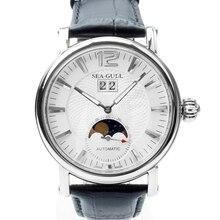 Echt Seagull Grande Datum Maanfase Guilloche Ui Crown Tentoonstelling Terug Automatic Horloge zeemeeuw M308S