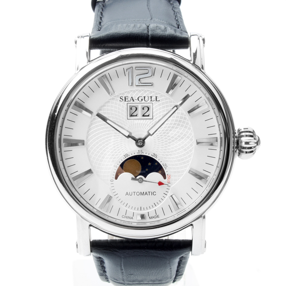 Genuine Seagull Grande Date Moon Phase Guilloche Onion Crown Exhibition Back Automatic Men's Watch Sea-gull M308S