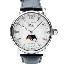 Genuine Seagull Grande Date Moon Phase Guilloche Onion Crown Exhibition Back Automatic Mens Watch Sea gull M308S
