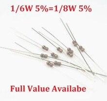 1000PCS/LOT  1/6W 910R/1K/1.2K/1.5K/1.8K Ohm resistance 1K 1/8W resistor color ring metal carbon film resistors