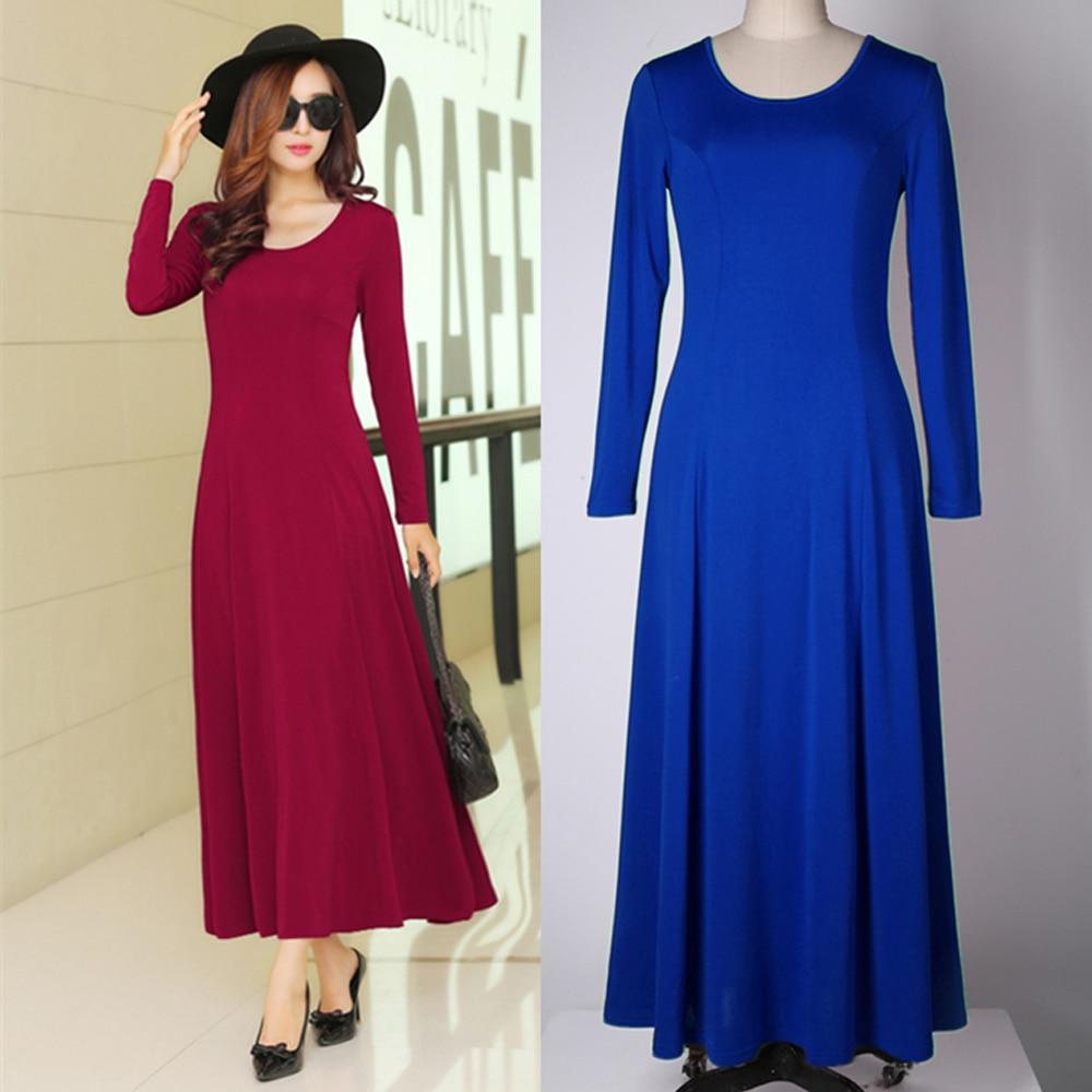 Ženy Sexy O-Neck s dlouhým rukávem A-Line dlouhé šaty Lady Girl Brief Party Jednobarevné šaty Big Swing Fashion Dress