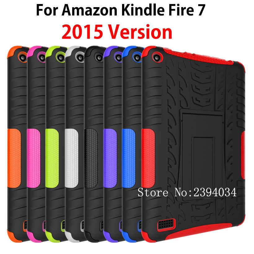 Kindle Fire 7 Case 2015 Armor KickStand Shockproof Heavy Duty Silicone PC Tablet Stand Case Cover For Amazon Kindle Fire 7 inch hot sale fashion kids shock proof case cover for amazon kindle fire hd 7 2015 rugged shockproof case just for you