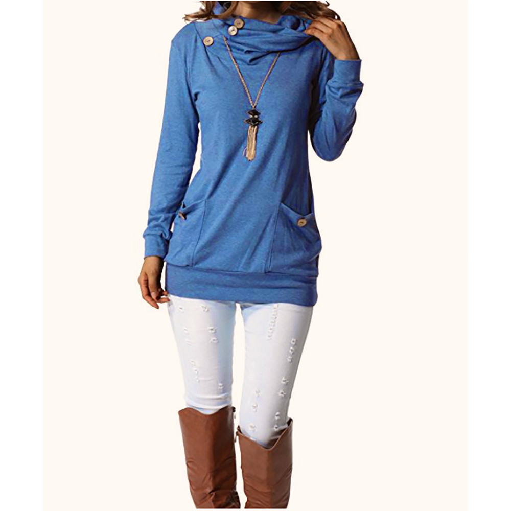 Womens Long Sleeve Button Cowl Neck Casual Slim Tunic Tops With Pockets Y82423