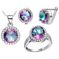 wholesal WGP Zircon Gem Noble Rich Round Rainbow Stone Set Ring Earrings Necklace White Filled Gift choker bts diy unicorn