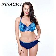 Ninacici Swimsuit Bikini 2017 Plus Size Swimwear Women's swimming suit Bandeau Bather Bathingsuit Beach Wear Maillot De Bain