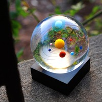 8 cm Crystal Solar System Ball Miniature Planets Model Glass Globe Home Decoration Sphere Ornament Gift Souvenir