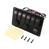 5 PIN 6 Gang Waterproof RV Car Marine Boat Circuit Breaker Red LED Rocker Switch Panel Dual USB Charger Cigarette Socket