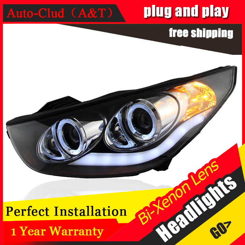 Auto Clud Car Styling for Angel Eye LED Headlight Hyundai IX35 Headlights DRL Lens Double Beam H7 HID Xenon bi xenon lens hireno headlamp for 2003 2009 toyota land cruiser prado headlight assembly led drl angel lens double beam hid xenon 2pcs