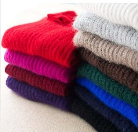Women's marten velvet mink sweater turtleneck short slim medium-long design basic knitted thermal cashmere sweater
