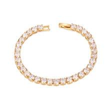 Simple Moda AAA Circón 24 K Oro Plateado Brazalete de Tenis para Las Mujeres Pulseira Joyería Clásica de La Boda Señora Charm Bracelet