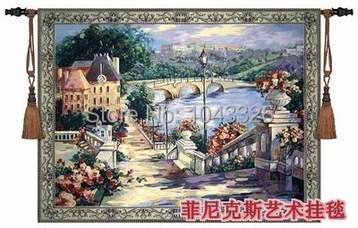 Hot sell 139*106cm town scenery landscape medieval mural antique decorative wall hanging tapestry for home decoration PT 13