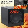 Превосходное качество US AUVIO 8 inch altavoces сабвуфер 100 Вт AC 220 В домой сабвуфер усилитель сабвуфера