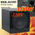 Qualidade Superior EUA AUVIO alto-falantes de 8 polegadas subwoofer de 100 W AC 220 V casa subwoofer amplificador subwoofer