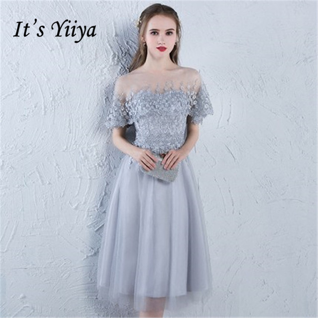 e303a649f0 It s YiiYa 2018 Short Sleeve Fashion Designer Elegant Cocktail Gowns  Illusion Flowers Lace Knee-Length Cocktail Dress LX383
