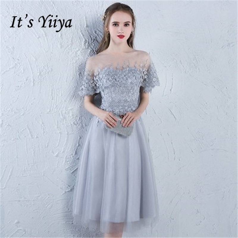 It's YiiYa 2018 Short Sleeve Fashion Designer Elegant   Cocktail   Gowns Illusion Flowers Lace Knee-Length   Cocktail     Dress   LX383