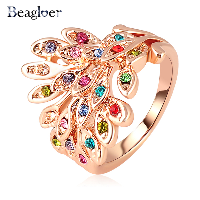 Women Fashion Brand Feather Wing Ring Rose Gold Color Dress Ring