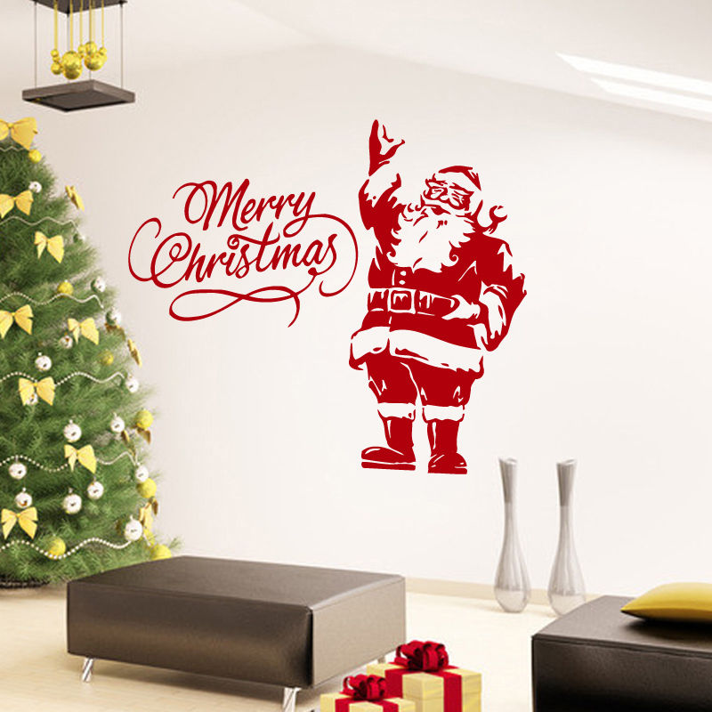 wall decals merry christmas santa claus decal vinyl sticker home decor window glass wall sticker art mural diy decal wy 20 - Christmas Decals For Glass