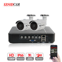 KRSHDCAM 4CH AHD DVR Security CCTV System 30M IR 2PCS 1080P CCTV Camera Outdoor Waterproof Camera Home Video Surveillance Kit