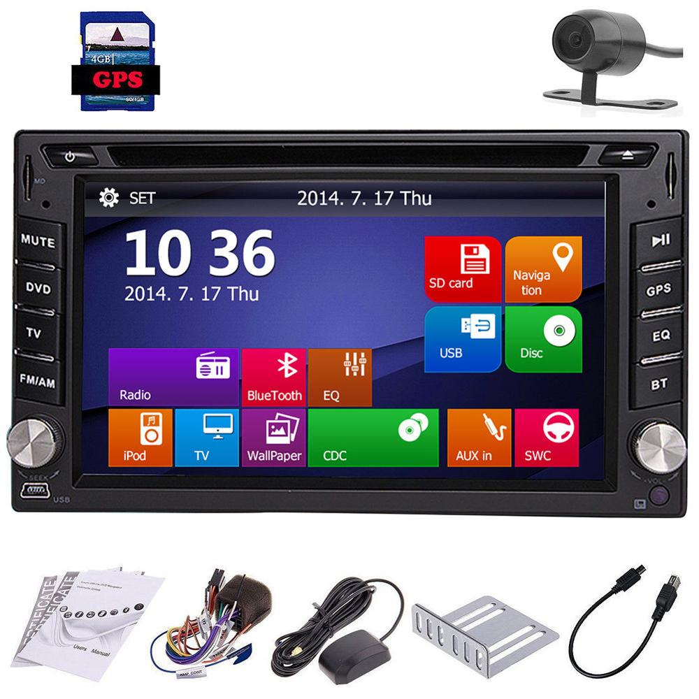 6.2 Inch Double din 2 DIN  In Dash GPS Navi Car DVD CD Player support Bluetooth FM AM RDS Auto Stereo Radio USB with free CAMERA 1563u 1 din 12v car radio audio stereo mp3 players cd player support usb sd mp3 player aux dvd vcd cd player with remote control