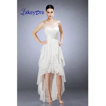 baf93713b38 Lakeydra белые пляжные свадебные платья трапециевидной формы из шифона