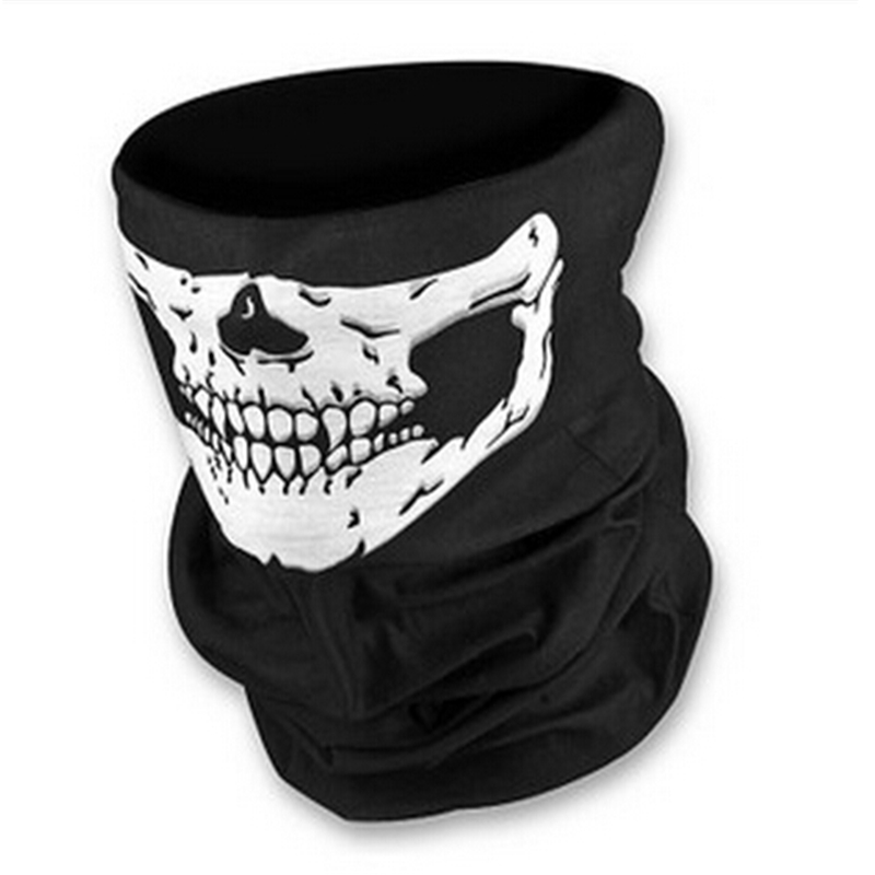 New Halloween Skull Skeleton Motorcycle Bicycle Multifunction Hat Scarf Half Face Mask Cap Neck Ghost Scarf купить