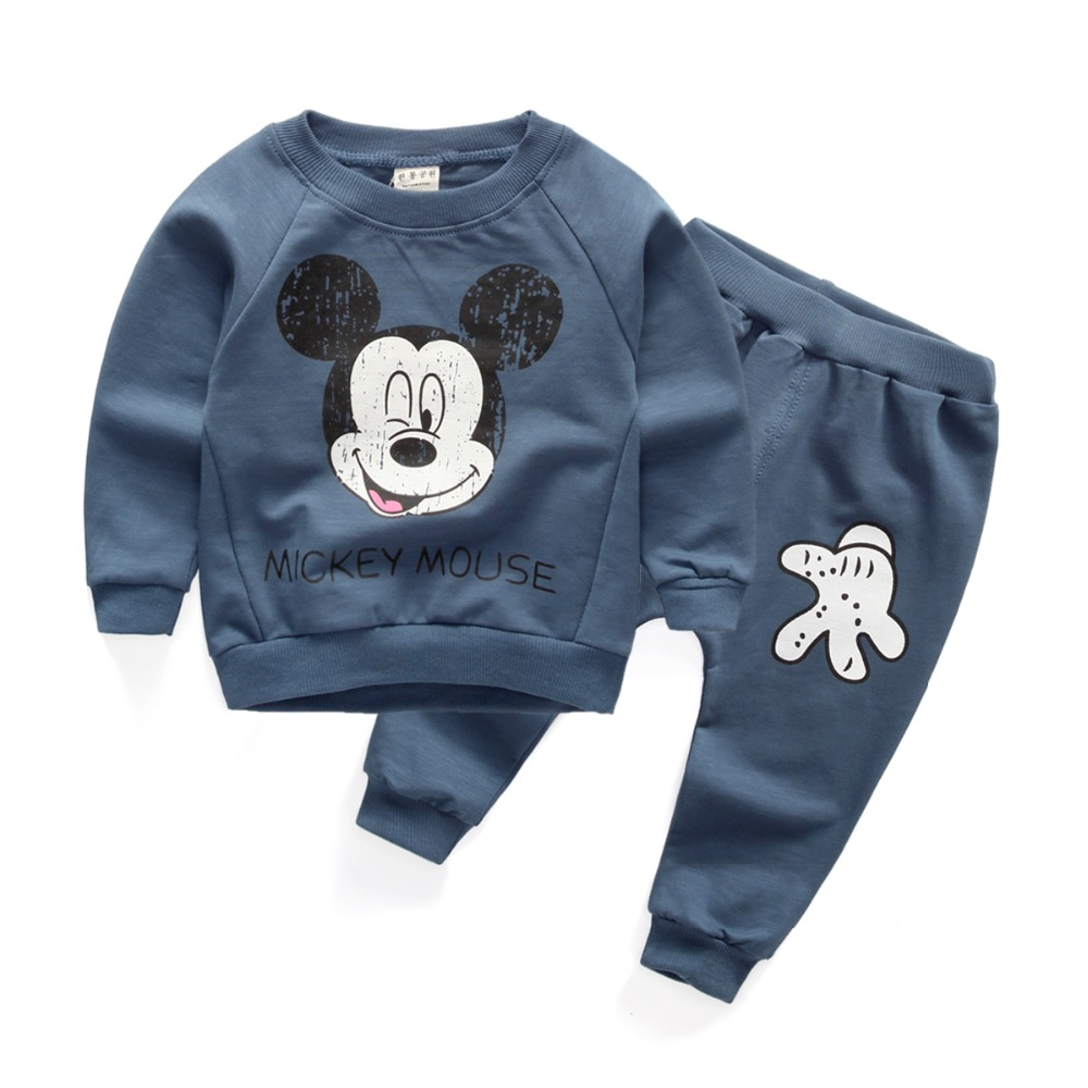 New arrival autumn spring baby boys clothing sets cartoon tops pants suit for infant girls korea