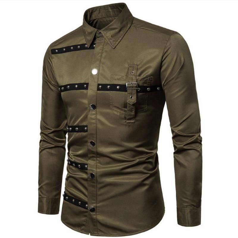 Новая весенняя Мужская рубашка в готическом стиле, 3 цвета, винтажные рубашки с длинными рукавами и заклепками размера плюс, тонкий модный Индивидуальный костюм