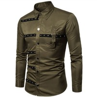 New Spring Men's Gothic Style Shirt 3 Colors Vintage Rivet Long sleeved Shirts Plus Size Slim Fashion Personality Costume
