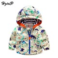 2016 New Spring Autumn Clothes Baby Boys Girls Jackets Children Hooded Graffiti Dinosaur Printed Boys Outerwear Kids Windbreaker