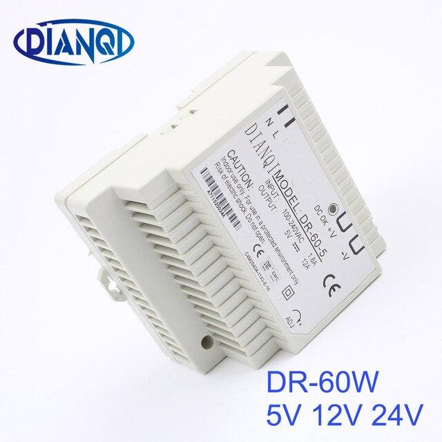DIANQI Din rail power supply 60w 12V power suply 12v 60w ac dc converter dr-60-12 good quality